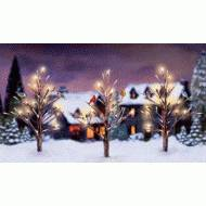 Winter Song Bird Trees, Lighted, Set of 3